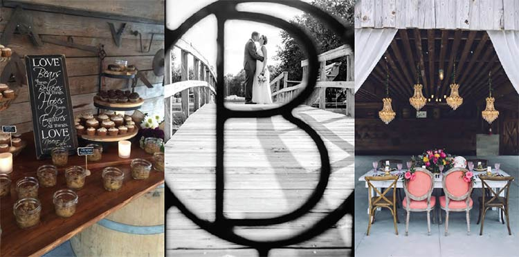 The Stables at Boals Farm photos: food display, couple of a bridge, decorated wedding reception table