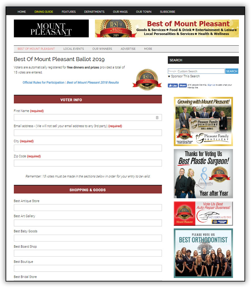 Best of Mount Pleasant voting page screenshot