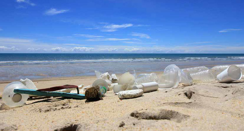 The beauty of a beach riuined by trash during a beach-side cleanup.