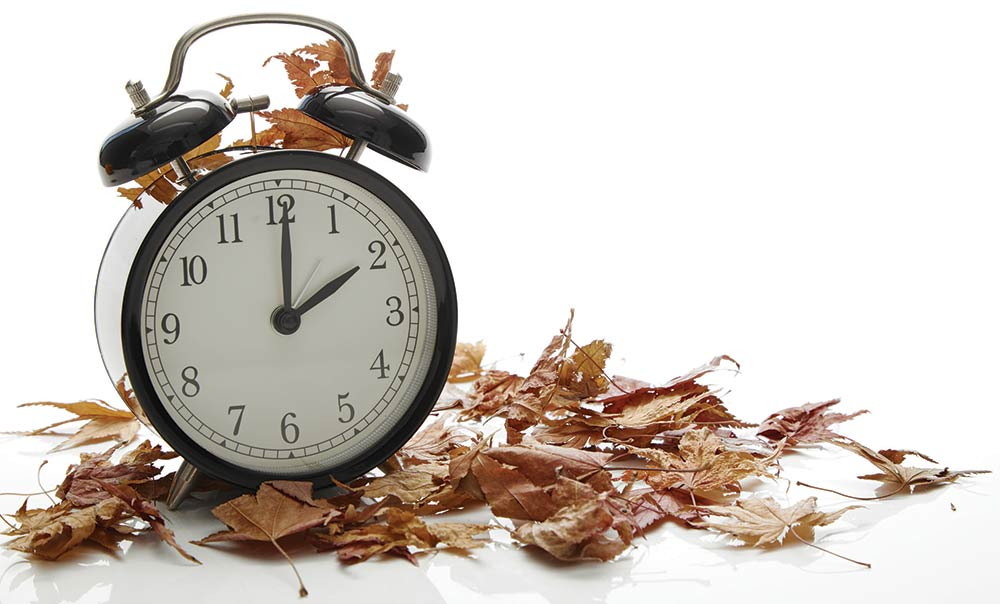The all-powerful clock, ruler of our schedules withleaves signaling the fall, and end of daylight savings time.