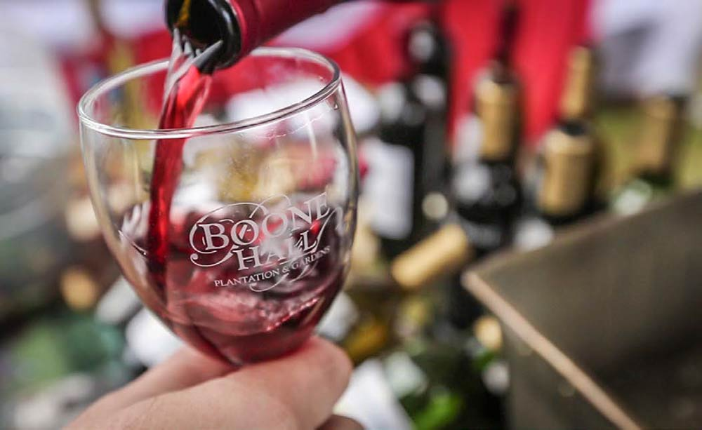 Boone Hall Plantation & Gardens: photo of a glass of wine with the Boone Hall logo
