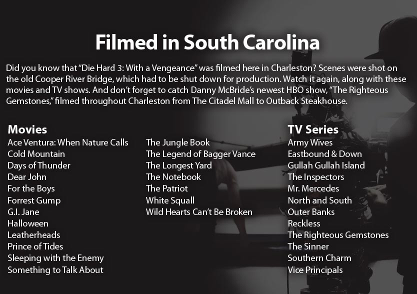 """Filmed in South Carolina: Did you know that """"Die Hard 3: With a Vengeance"""" was filmed here in Charleston? Scenes were shot on the old Cooper River Bridge, which had to be shut down for production. Watch it again, along with these movies and TV shows. And don't forget to catch Danny McBride's newest HBO show, """"The Righteous Gemstones,"""" filmed throughout Charleston from The Citadel Mall to Outback Steakhouse."""