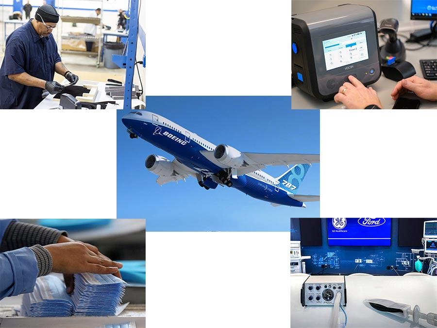 3M making ventilators, Ventec Life Systems, Ford & GE ventilators,FCA face masks, and Boeing's Dreamliner.