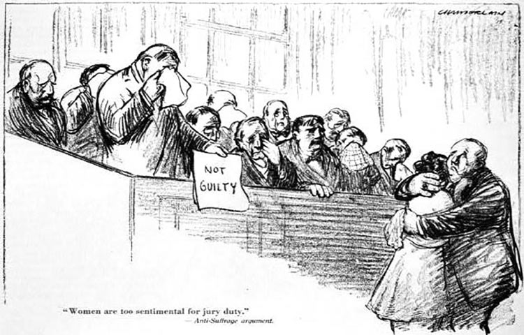 """Cartoon, """"Women are too sentimental for jury duty. Anti-Suffrage argument. Credit: Library of Congress: loc.pnp/cph.3b49101"""