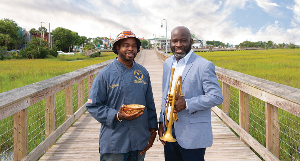 """Chef Benjamin """"BJ"""" Dennis and Charlton Singleton, co-founder of the Charleston Jazz Orchestra and member of the Grammy-winning band Ranky Tanky"""