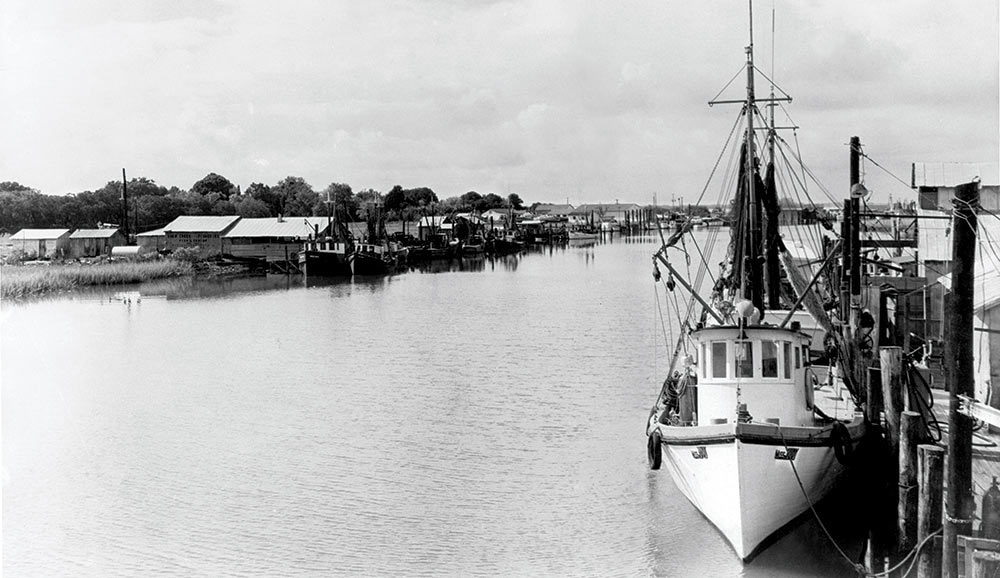 A photo of Shem Creek is from the early 1950s, provided by Billy And Bubba Simmons of Simmons Seafood