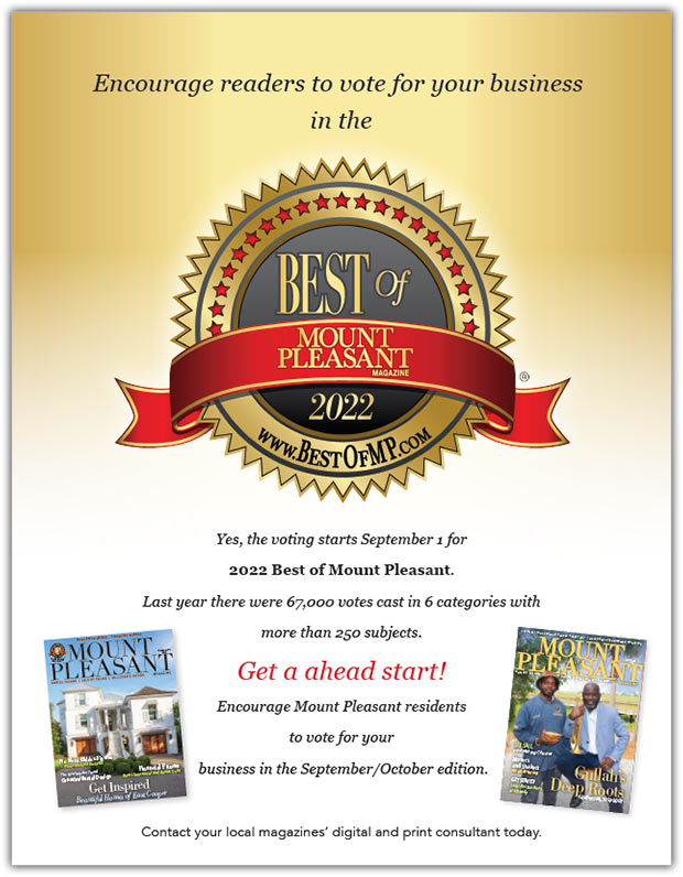 "Best of Mount Pleasant 2022 ""Encourage Readers to Vote"" flyer"