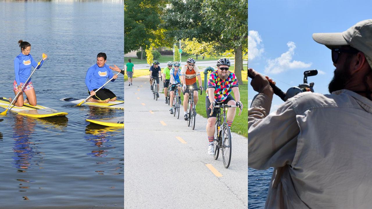 Outdoor Sports - paddleboarding, biking & fishing pictured.