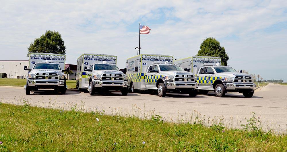 Photo of Charleston EMS ambulances.