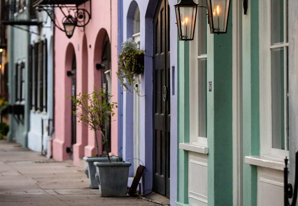 Rainbow Row in Charleston, South Carolina. Photo courtesy of The Preservation Society of Charleston.