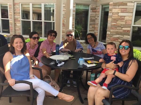 Family photo at Mount St Joseph rehab center garden area