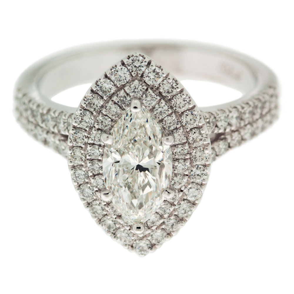 Marquise Diamond Ring With Double Halo Mouradian Custom
