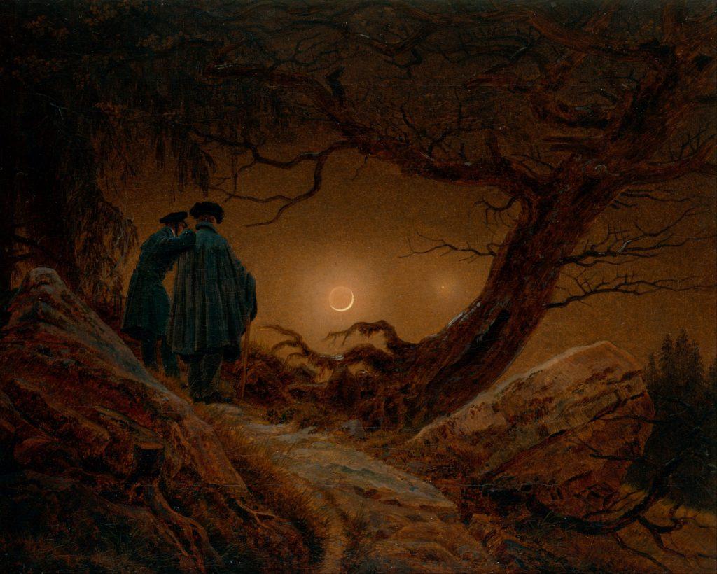 "Caspar Friedrich's painting, ""Two Men Contemplating the Moon""."