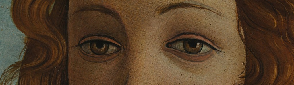 """An excerpt of Venus's eyes from Botticelli's painting, """"The Birth of Venus""""."""