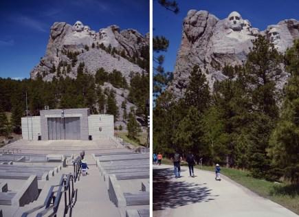 Z lewej: amfiteatr przy pomniku. Z prawej: Szlak prezydencki.