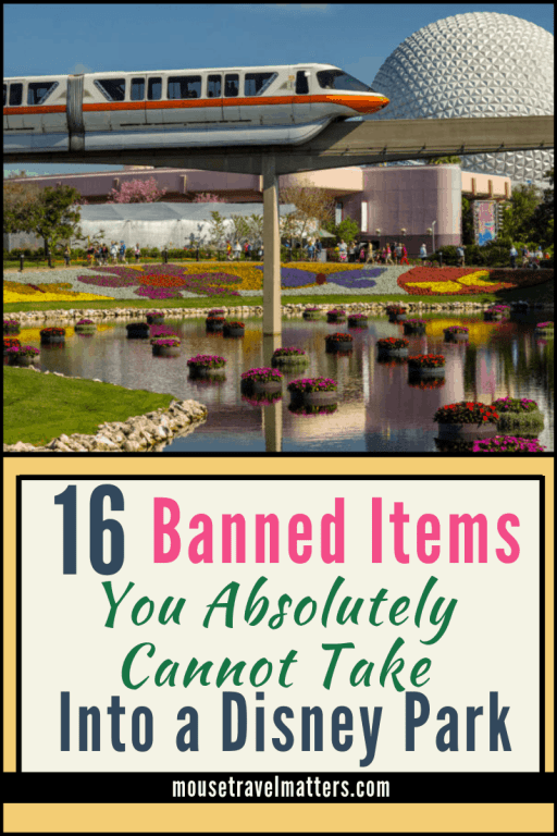 16 Things that won't make it past security at Disney What is banned at Disney? Disney does have a short list of banned items and behaviors in their parks. Here is the list and a few reasons behind most of them