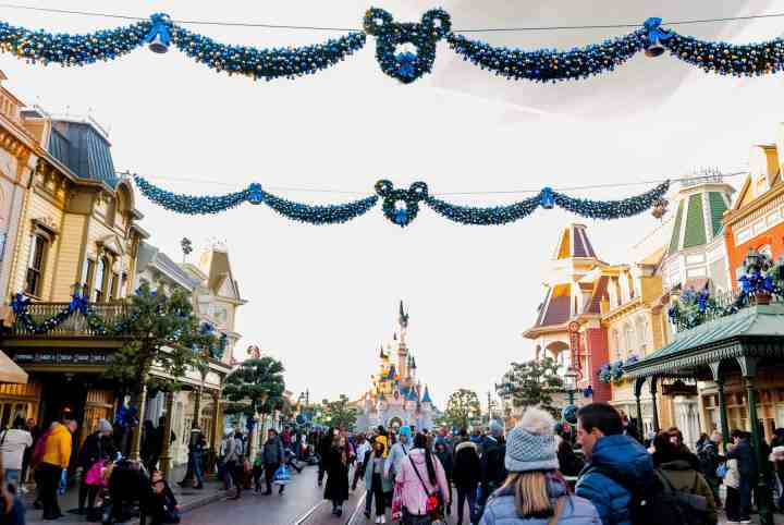 Disneyland Paris streets with castle in background