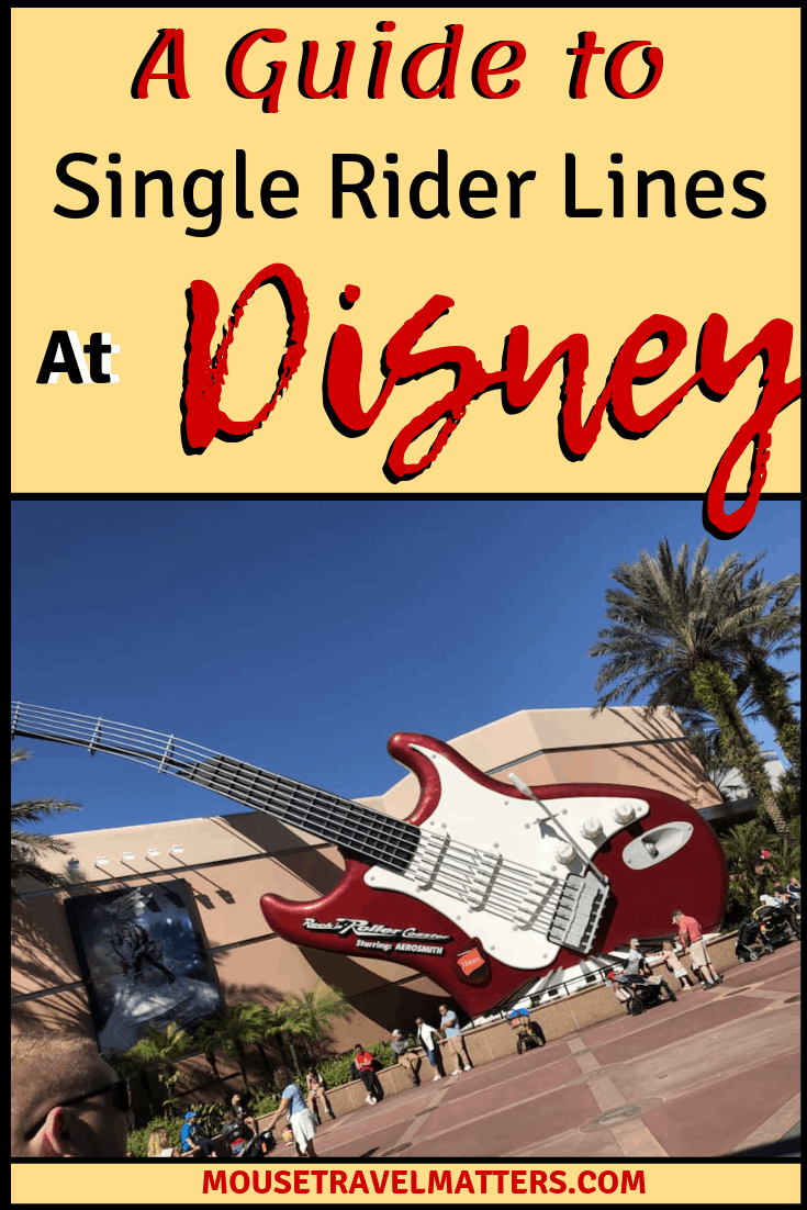 A Guide to Single Rider Lines at Walt Disney World. Three of Disney biggest most popular rides have something called a single rider line which will get you to the front of the line faster! The single rider lines at Disney World offer solo travelers, or guests whose family may not want to join, the opportunity to enter a special line at select Disney World rides.