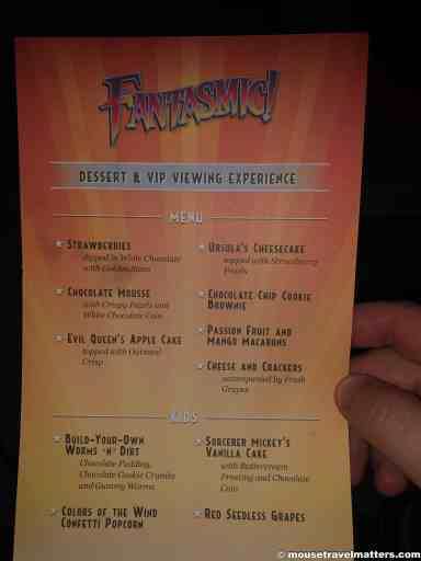 Fantasmic Dessert and VIP viewing experience