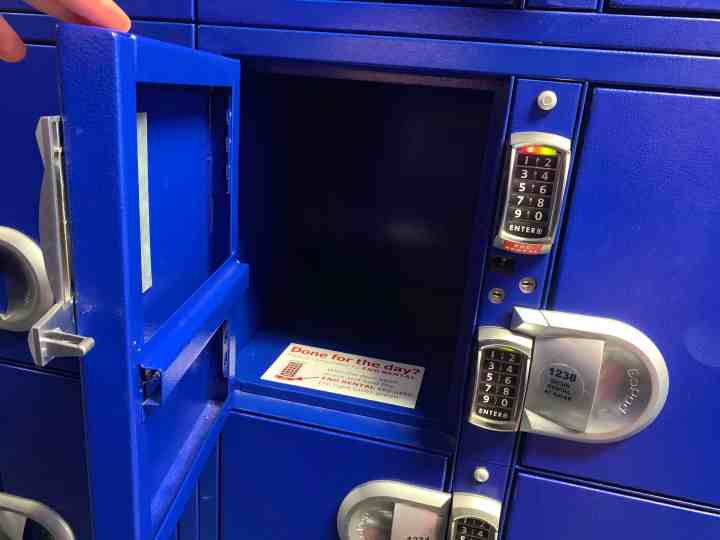 Rent a locker at Disney World to store items you don't want to carry with you all day long, like your packed lunch!