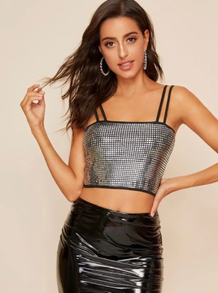 Tendencias Moda para Diario top con brillos falda cuero