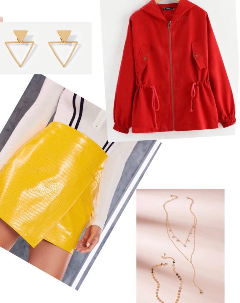 outfit amarillo y rojo combinación de colores