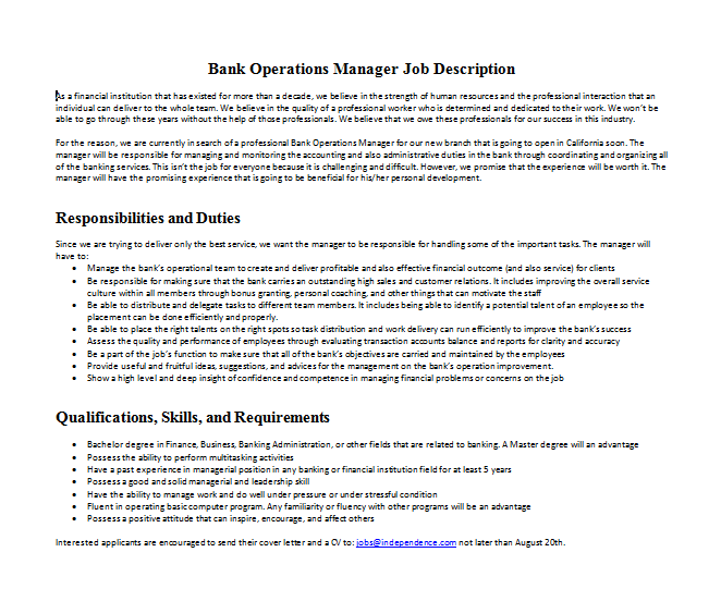 Bank Operations Manager Job Description  Mous Syusa