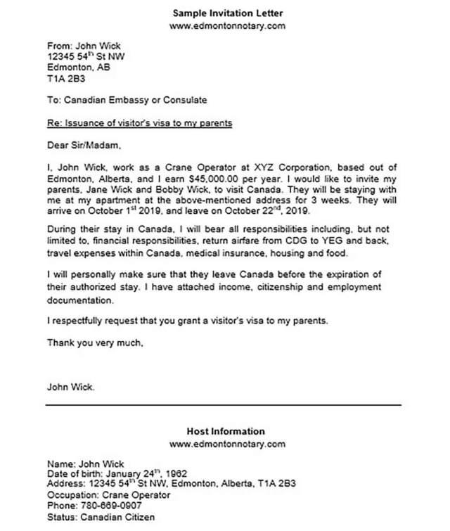 Invitation Letter For Us Visa And