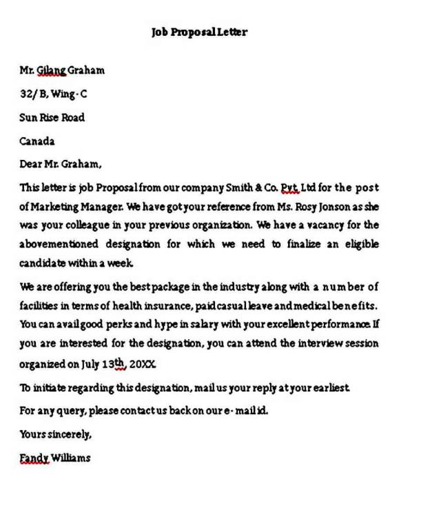 Sample Job Proposal Letter For Employee