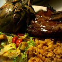 Barbecued Pork Ribs and Grilled Artichokes