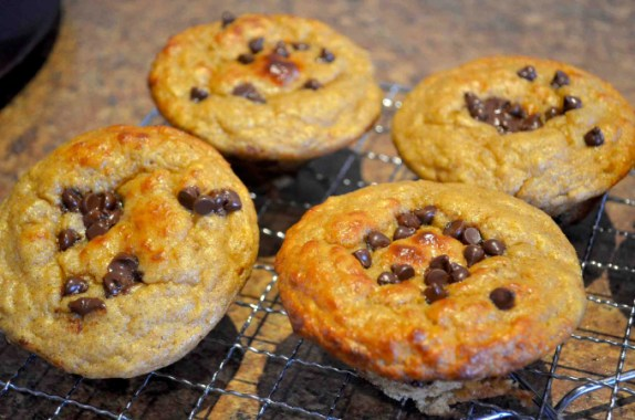Banana Chocolate-Chip Protein Souffle Muffins