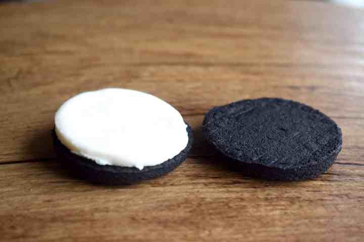 keto oreo cookie separated