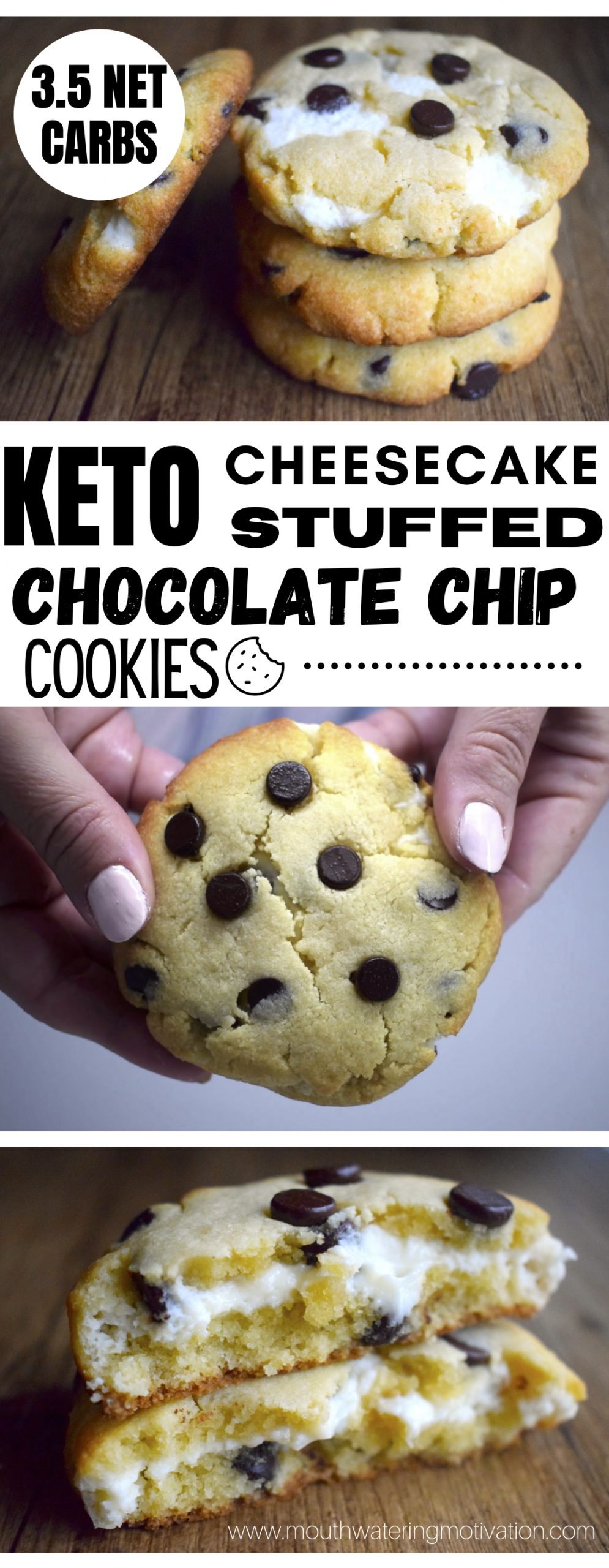 KETO CHEESECAKE FILLED CHOCOLATE CHIP COOKIES