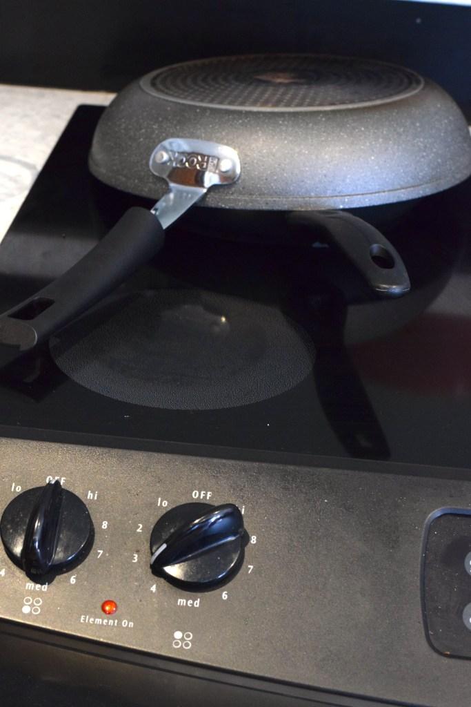 cover eggs in pan