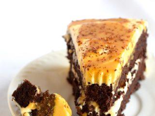 keto almond flour chocolate cake with caramel