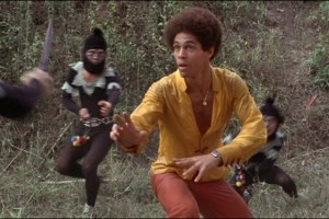 Black Belt Jones star Jim Kelly in a scene from Hot Potato
