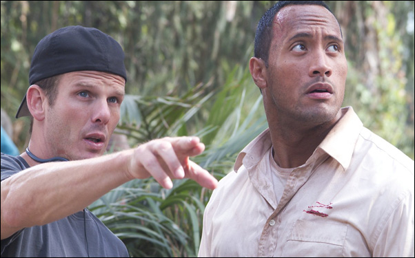 "Peter Berg and Dwayne ""The Rock"" Johnson on the set of ""The Rundown"""