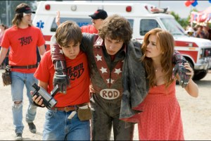 "Jorma Taccone, Andy Samberg and Isla Fisher in a scene from Akiva Schaffer/Lonely Island film ""Hot Rod"""