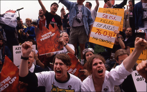 "A scene of AIDS activists in David France's documentary ""How to Survive a Plague"""
