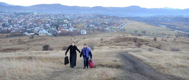 Cosmina Stratan and Cristina Flutur in a scene from Cristian Mungiu's film Beyond the Hills