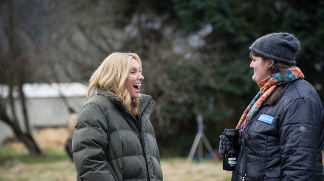 """Toni Collette and Megan Griffiths on the set of """"Lucky Them"""""""