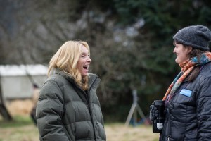 "Toni Collette and Megan Griffiths on the set of ""Lucky Them"""