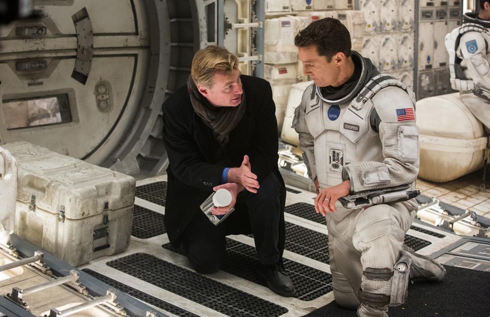 "Christopher Nolan and Matthew McConaughey on the set of ""Interstellar"""