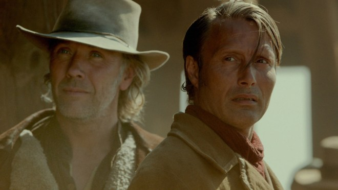 """Mikael Persbrandt and Mads Mikkelsen in """"The Salvation"""""""