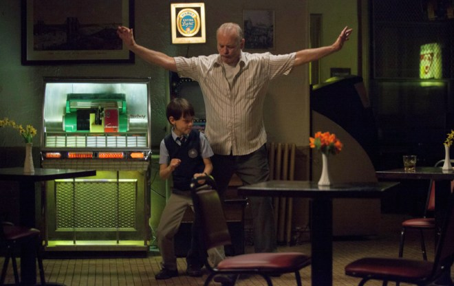 "Jaeden Lieberher and Bill Murray in ""St. Vincent"""