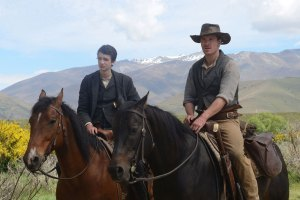 "Michael Fassbender and Kodi Smit-McPhee in ""Slow West"""