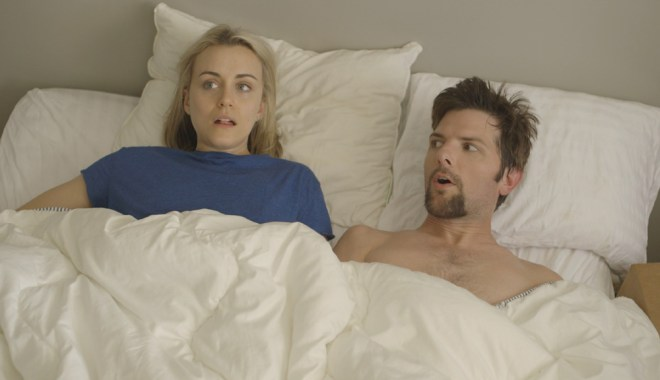 "Taylor Schilling and Adam Scott in ""The Overnight"""