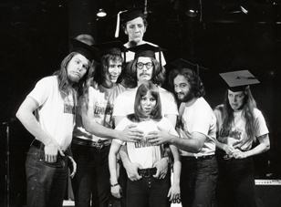 Garry Goodrow, Peter Elbling, Chevy Chase, Christopher Guest, John Belushi, Mary-Jennifer Mitchell and Alice Peyton in DRUNK STONED BRILLIANT DEAD: THE STORY OF THE NATIONAL LAMPOON