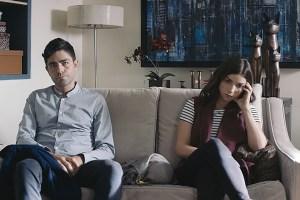 "Adrian Grenier and Angela Trimbur in ""Trash Fire"""
