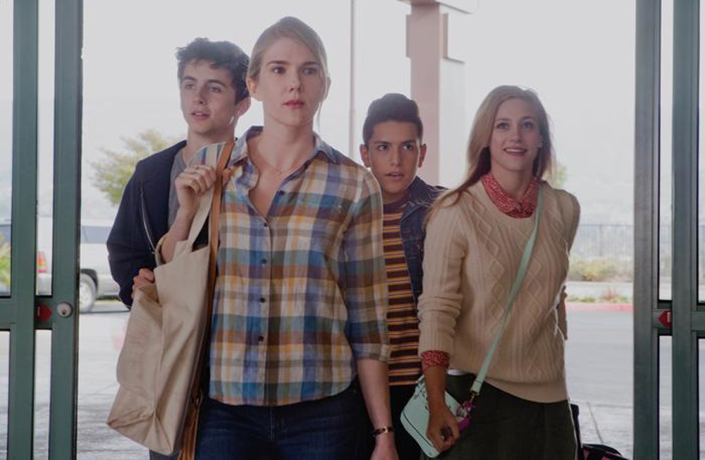 """Lily Rabe, Lili Reinhart, Timothee Chalamet, Anthony Quintal in """"Miss Stevens"""""""